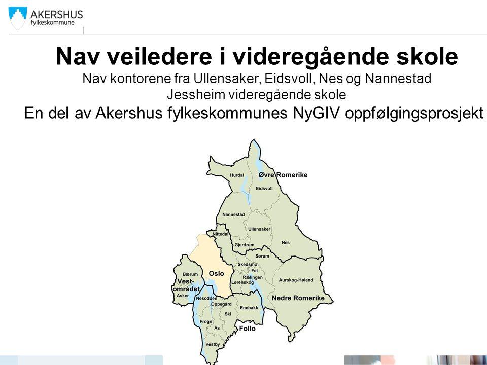 Nav veiledere i videregående skole Nav kontorene fra Ullensaker, Eidsvoll, Nes og Nannestad Jessheim videregående skole En del av Akershus fylkeskommunes NyGIV oppfølgingsprosjekt