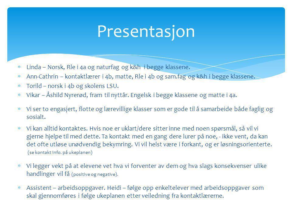 Presentasjon Linda – Norsk, Rle i 4a og naturfag og k&h i begge klassene.