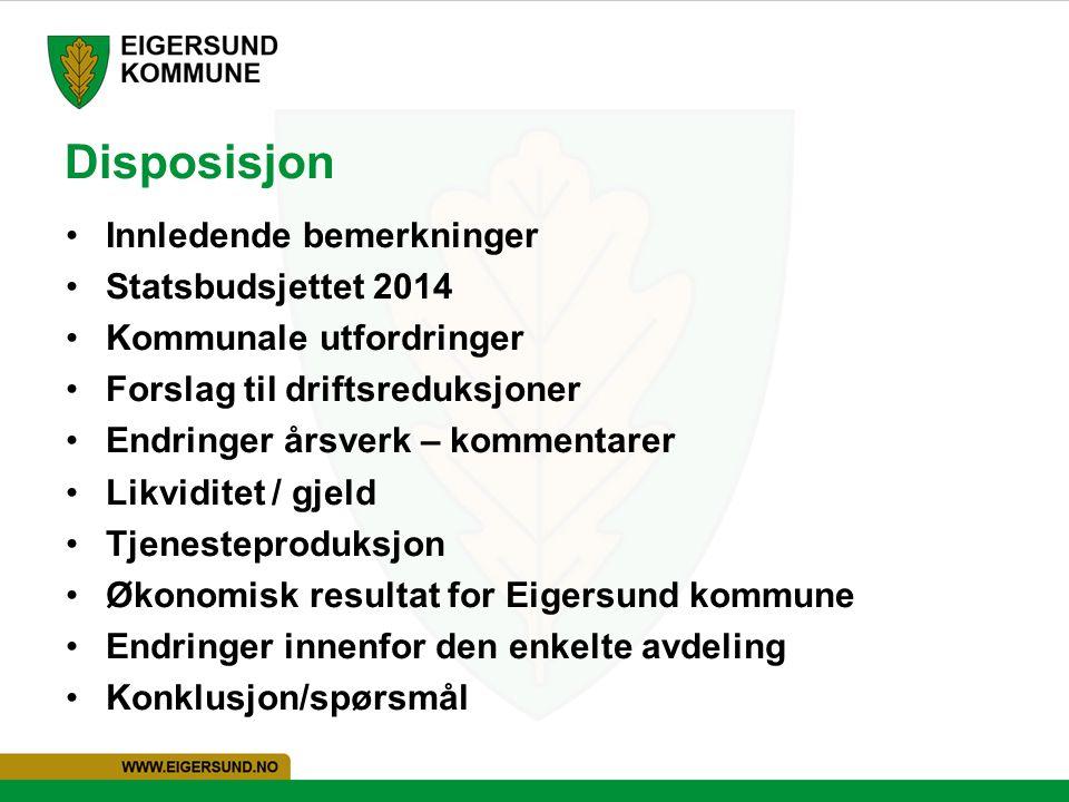 Disposisjon Innledende bemerkninger Statsbudsjettet 2014
