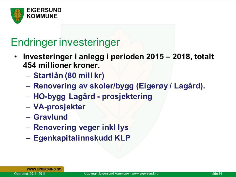 Endringer investeringer