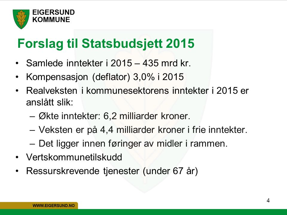 Forslag til Statsbudsjett 2015