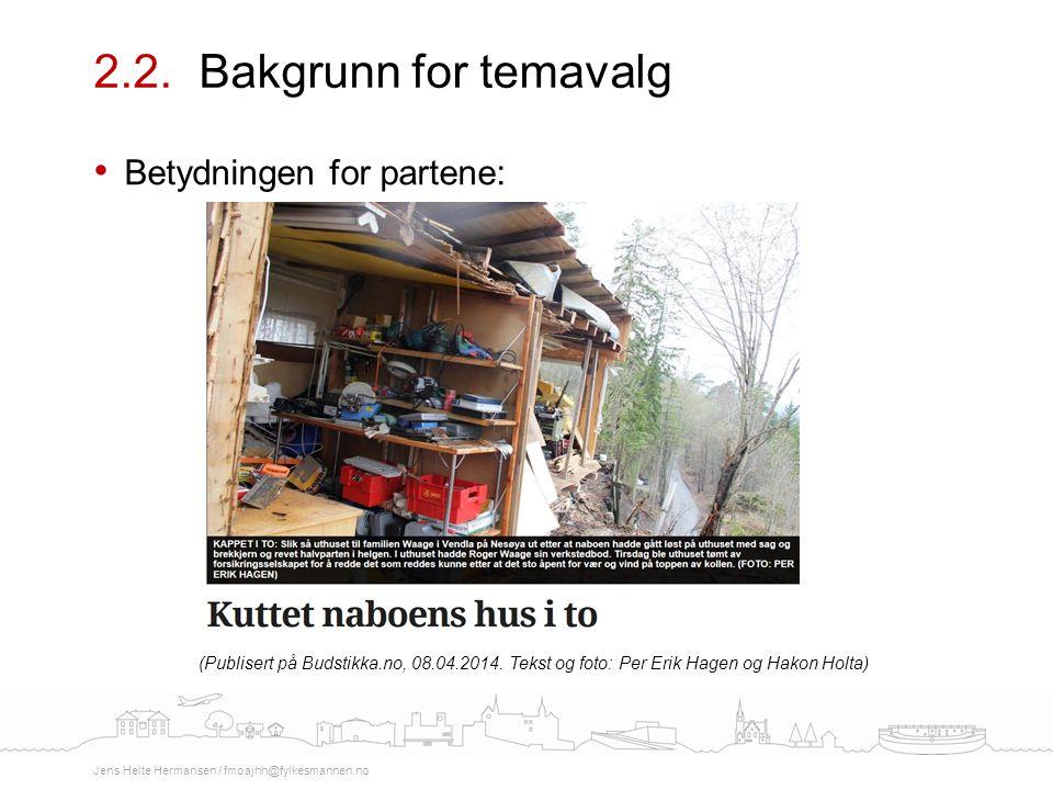 2.2. Bakgrunn for temavalg Betydningen for partene: