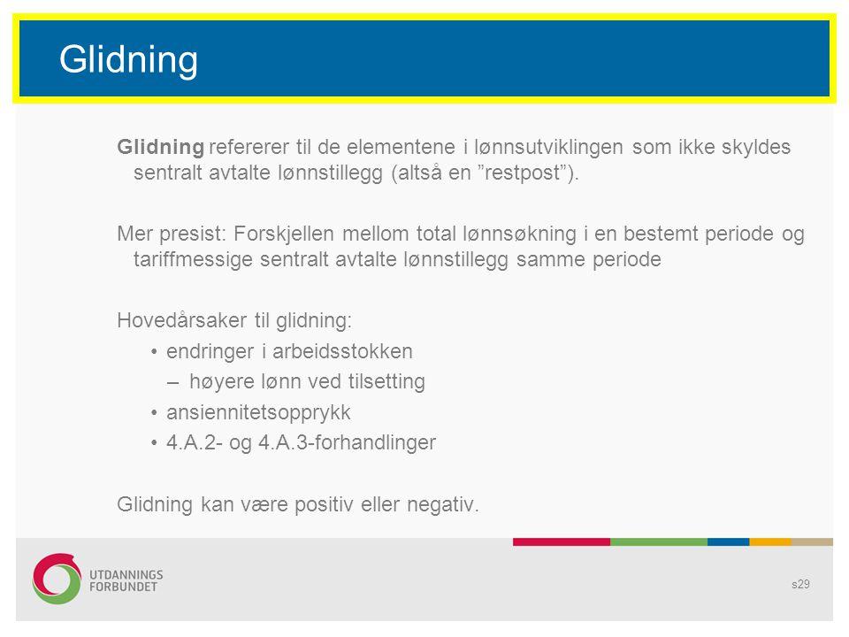 Glidning Glidning refererer til de elementene i lønnsutviklingen som ikke skyldes sentralt avtalte lønnstillegg (altså en restpost ).