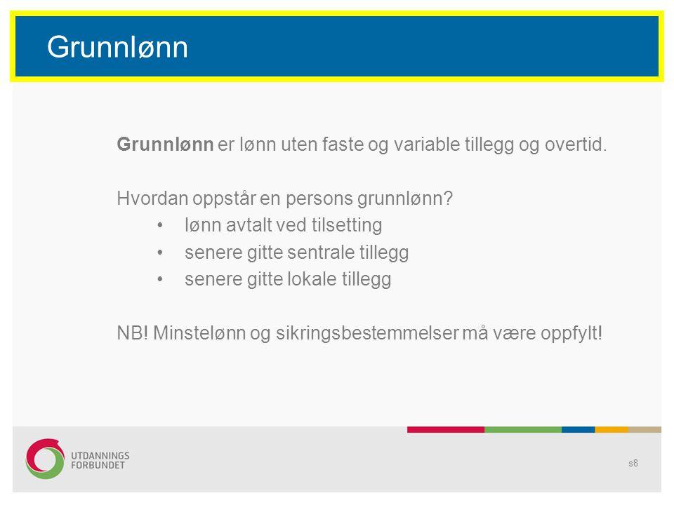Grunnlønn Grunnlønn er lønn uten faste og variable tillegg og overtid.