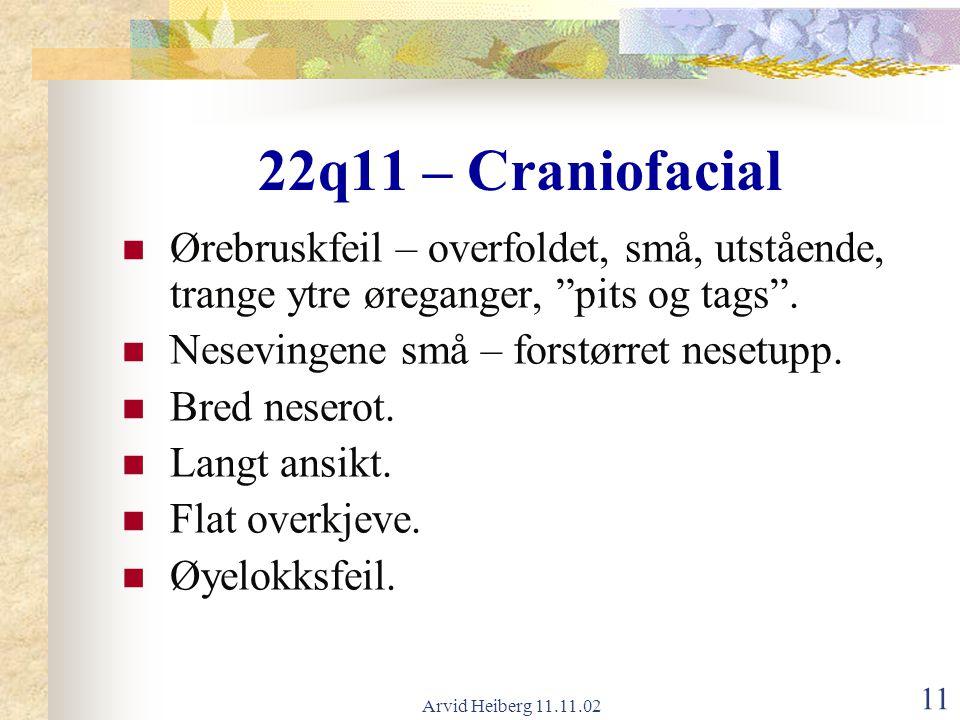22q11 – Craniofacial Ørebruskfeil – overfoldet, små, utstående, trange ytre øreganger, pits og tags .