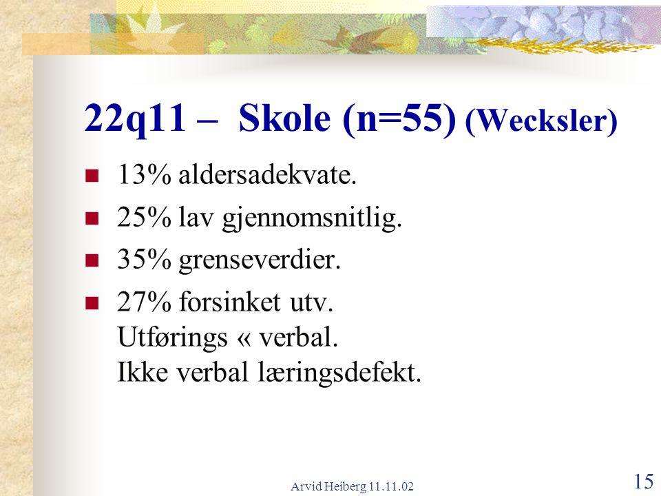 22q11 – Skole (n=55) (Wecksler)