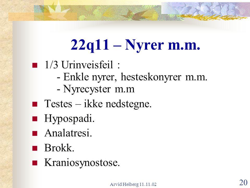 22q11 – Nyrer m.m. 1/3 Urinveisfeil : - Enkle nyrer, hesteskonyrer m.m. - Nyrecyster m.m. Testes – ikke nedstegne.
