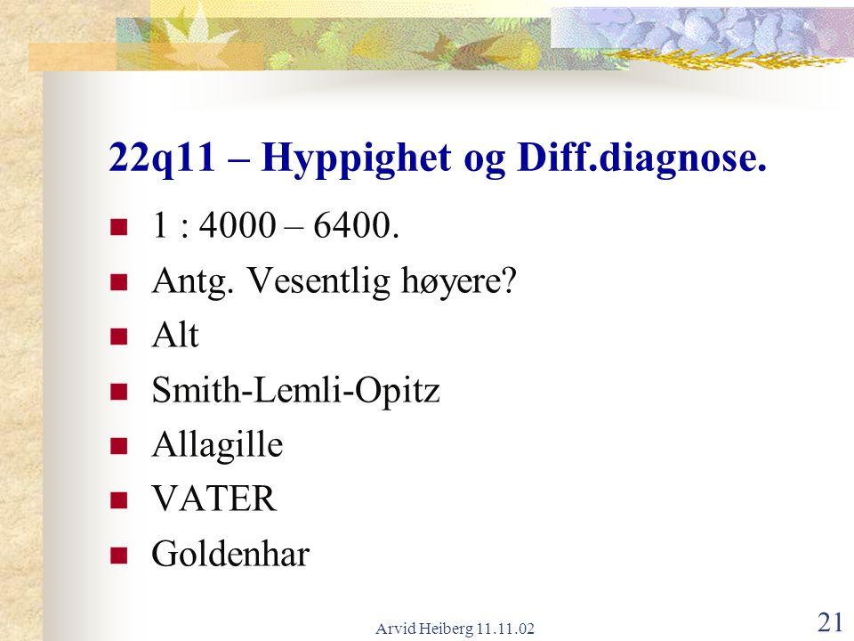 22q11 – Hyppighet og Diff.diagnose.