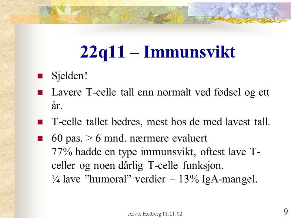 22q11 – Immunsvikt Sjelden! Lavere T-celle tall enn normalt ved fødsel og ett år. T-celle tallet bedres, mest hos de med lavest tall.
