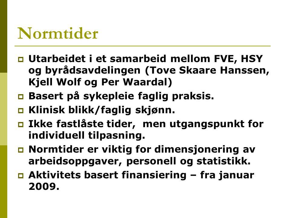 Normtider Utarbeidet i et samarbeid mellom FVE, HSY og byrådsavdelingen (Tove Skaare Hanssen, Kjell Wolf og Per Waardal)