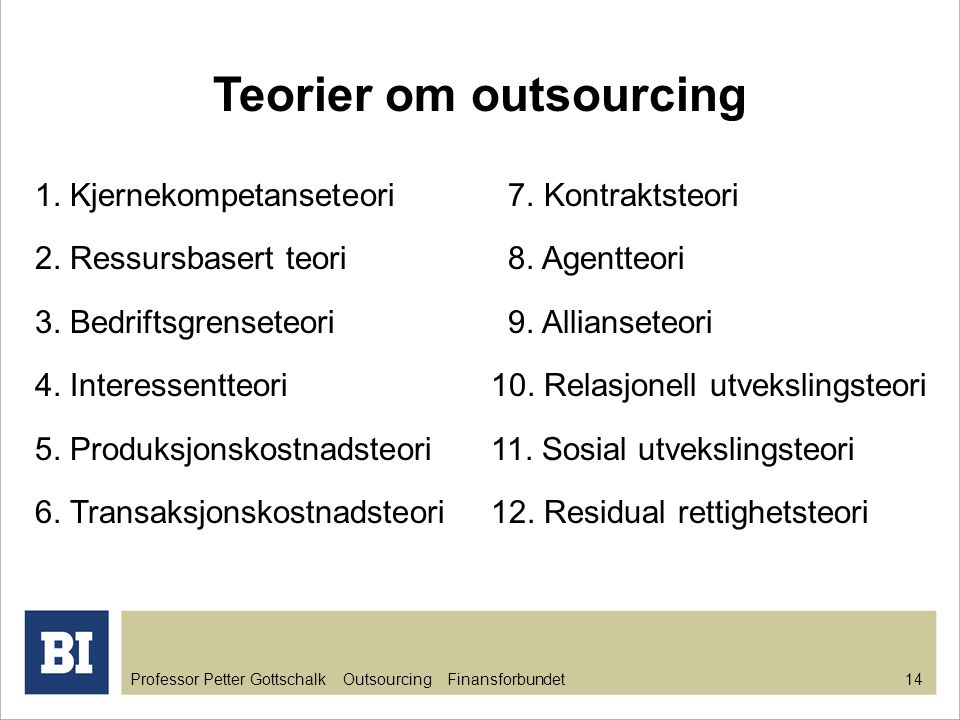 Teorier om outsourcing