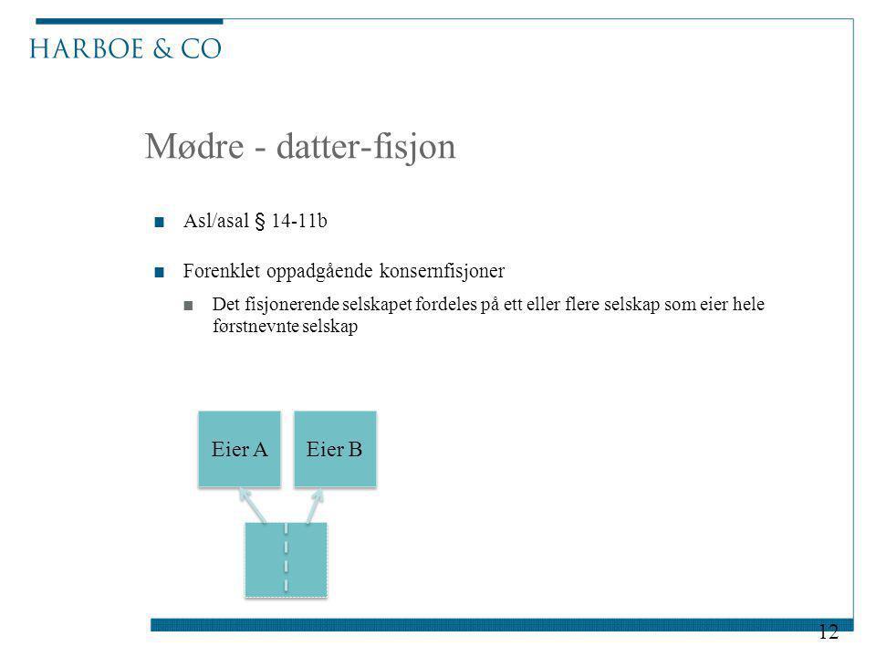 Mødre - datter-fisjon Eier A Eier B Asl/asal § 14-11b
