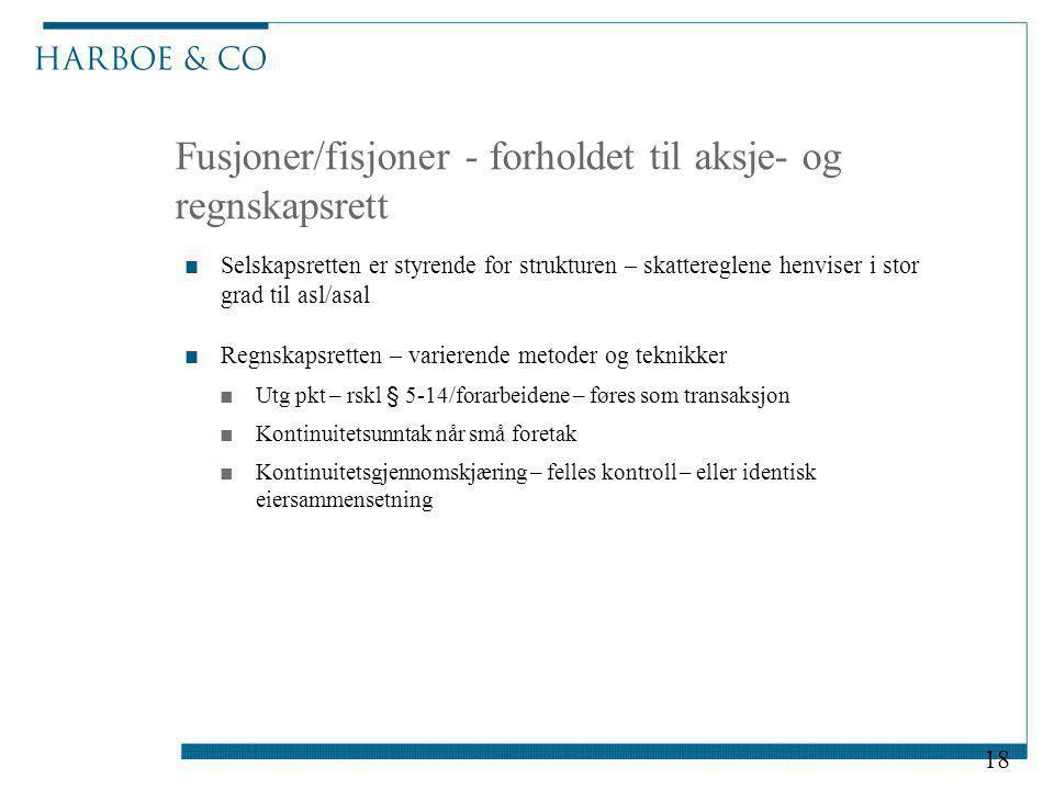Fusjoner/fisjoner - forholdet til aksje- og regnskapsrett