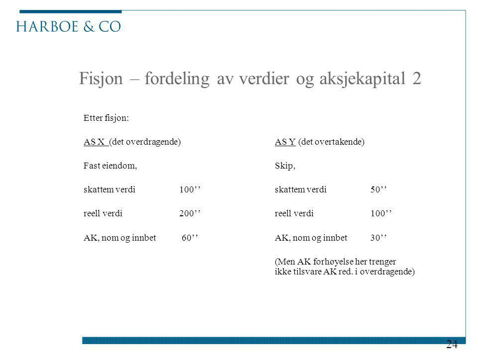Fisjon – fordeling av verdier og aksjekapital 2