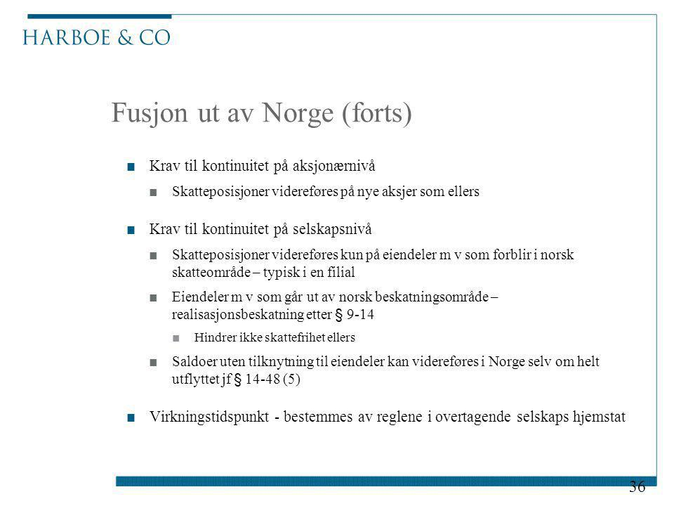 Fusjon ut av Norge (forts)
