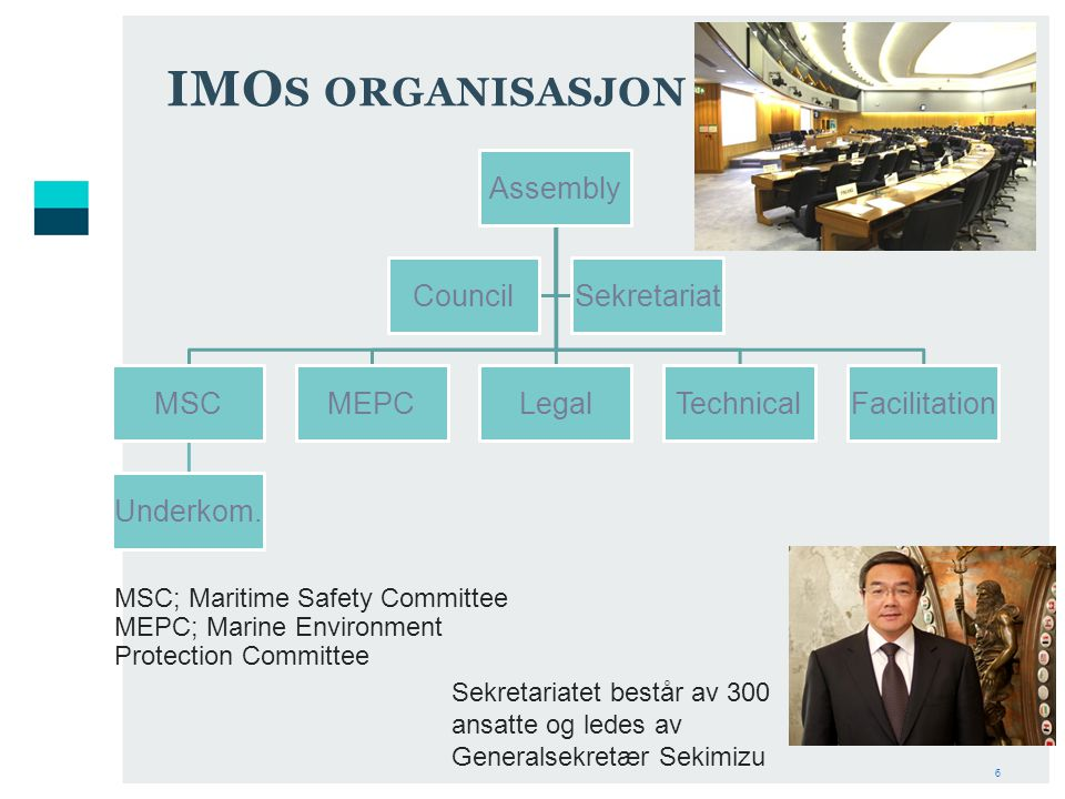 IMOs organisasjon Assembly MSC Underkom. MEPC Legal Technical
