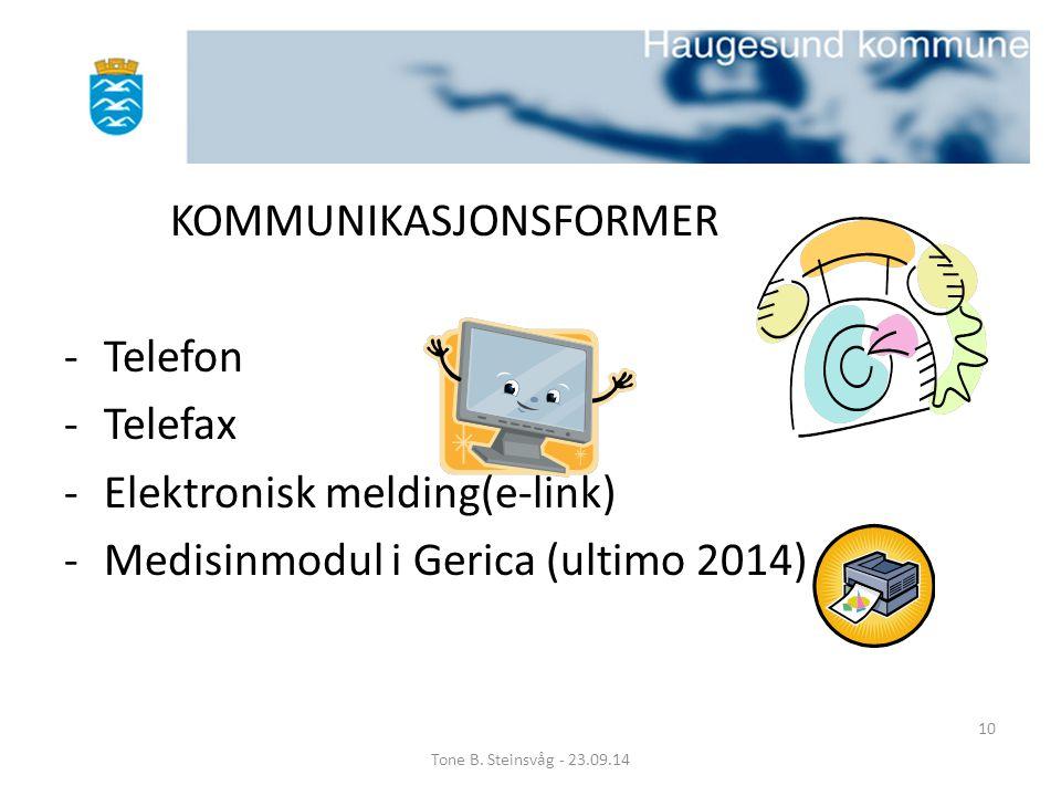 KOMMUNIKASJONSFORMER Telefon Telefax Elektronisk melding(e-link)