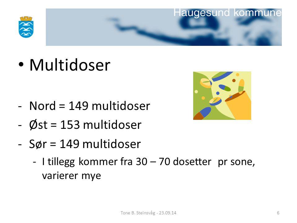 Multidoser Nord = 149 multidoser Øst = 153 multidoser