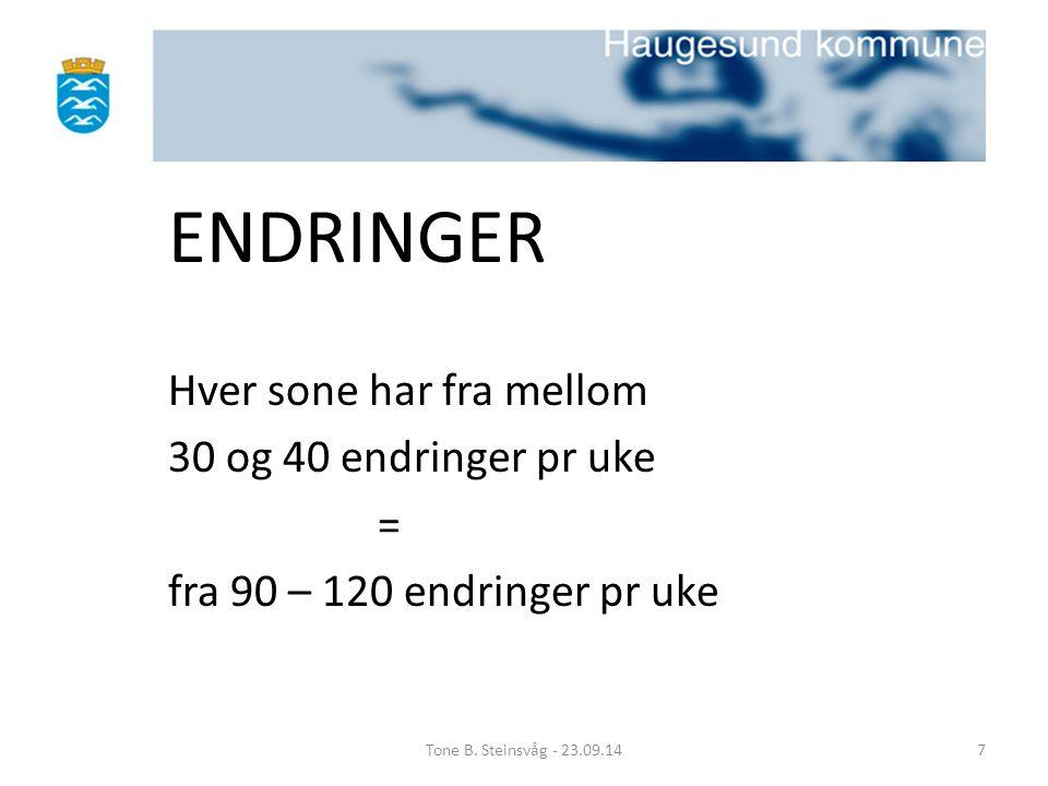 ENDRINGER Hver sone har fra mellom 30 og 40 endringer pr uke =