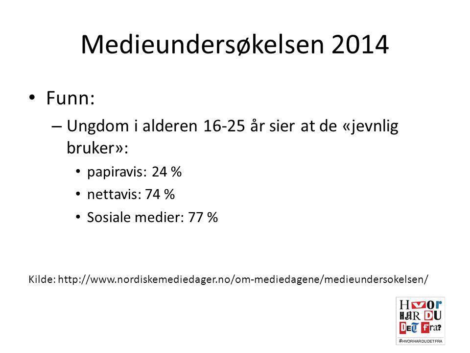 Medieundersøkelsen 2014 Funn: