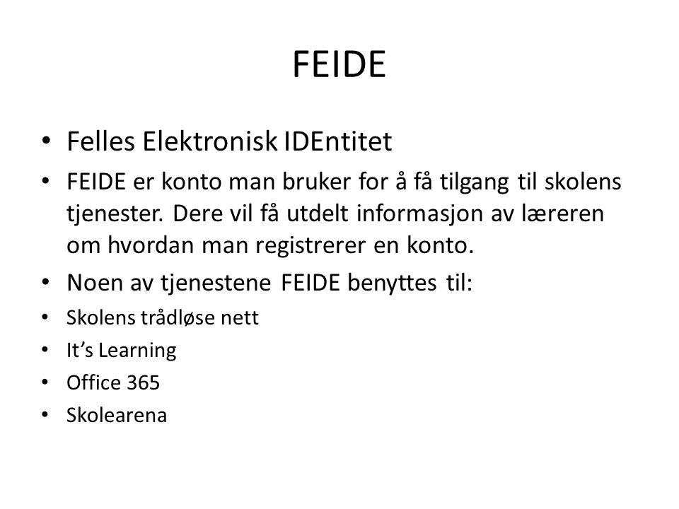 FEIDE Felles Elektronisk IDEntitet