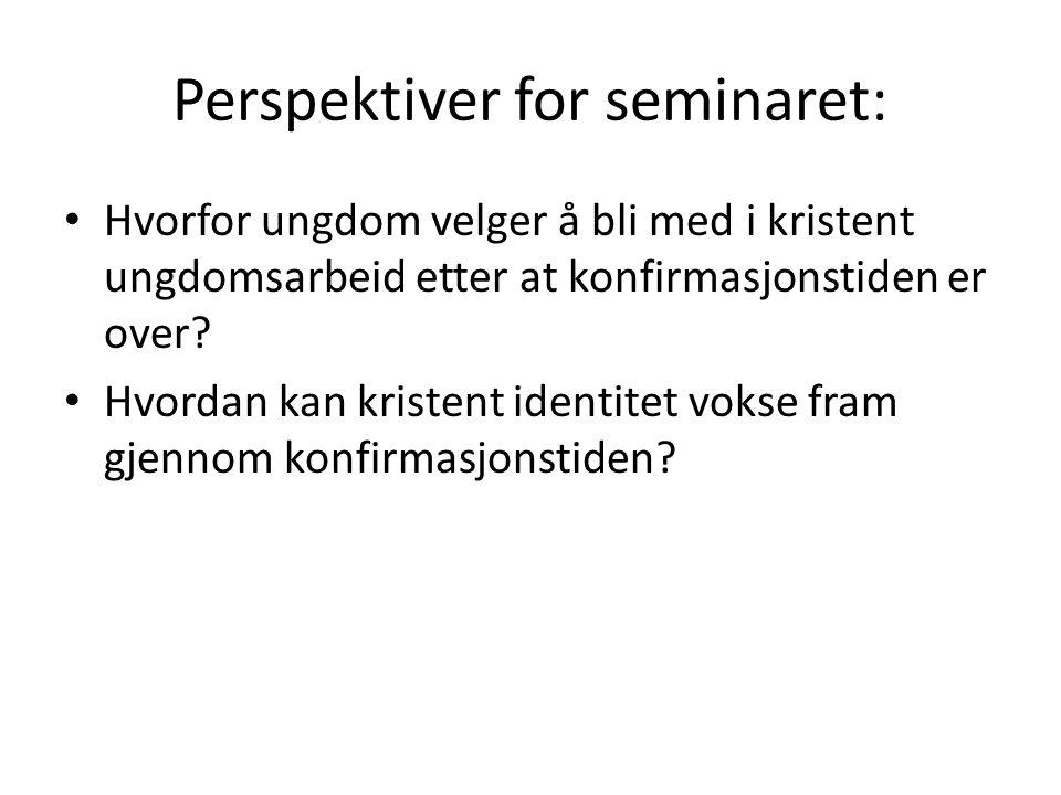 Perspektiver for seminaret: