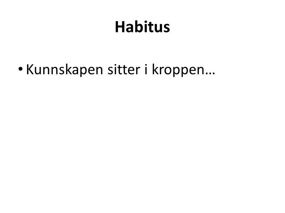Habitus Kunnskapen sitter i kroppen…
