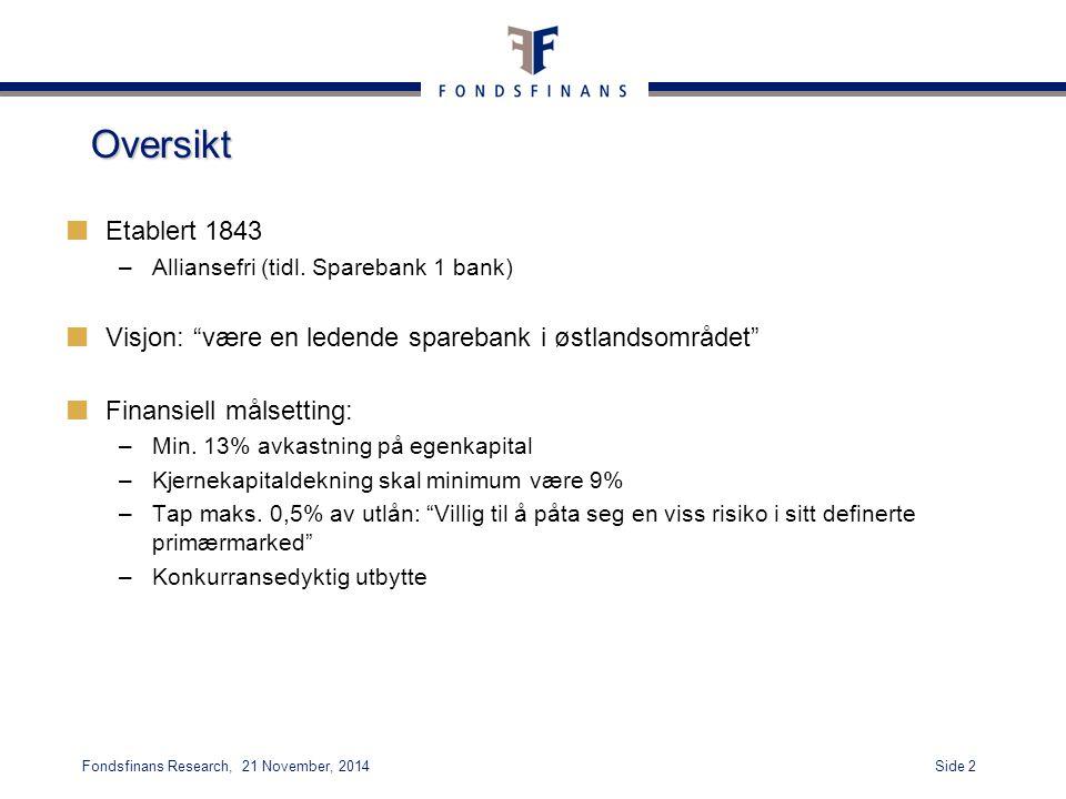 Oversikt Etablert 1843. Alliansefri (tidl. Sparebank 1 bank) Visjon: være en ledende sparebank i østlandsområdet