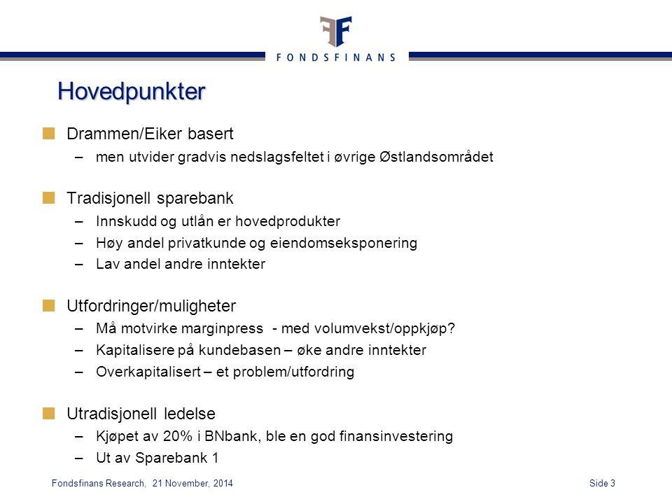 Hovedpunkter Drammen/Eiker basert Tradisjonell sparebank