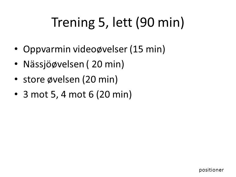 Trening 5, lett (90 min) Oppvarmin videoøvelser (15 min)