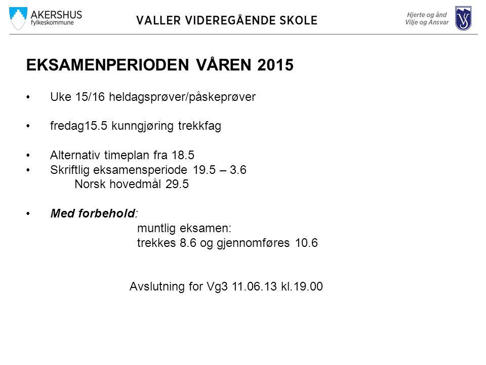 EKSAMENPERIODEN VÅREN 2015