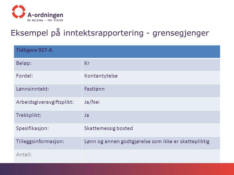 Eksempel på inntektsrapportering - grensegjenger