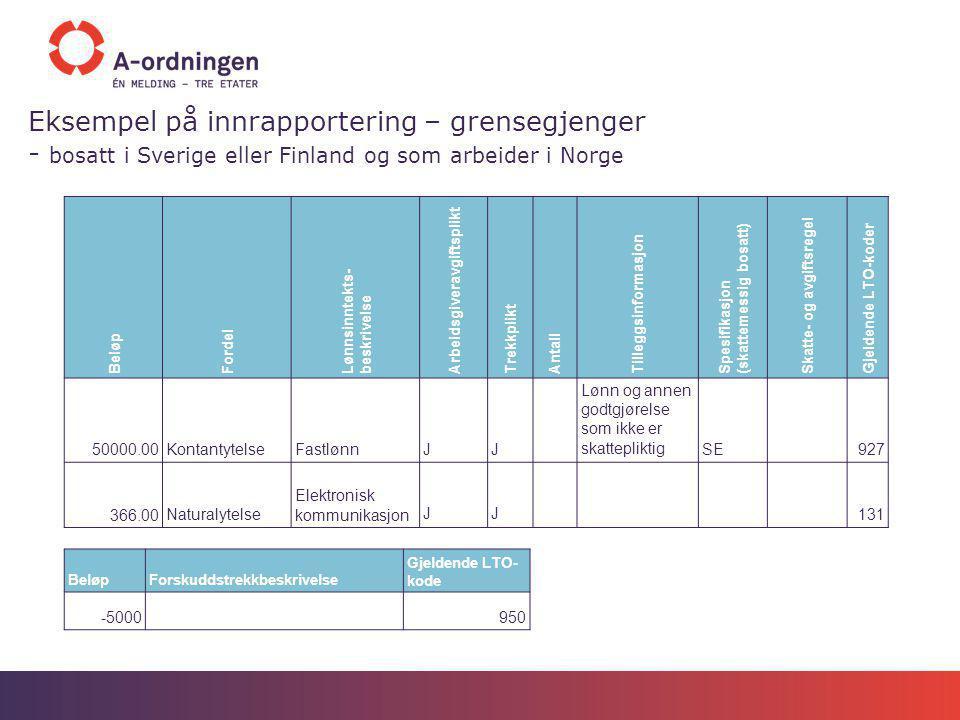 Eksempel på innrapportering – grensegjenger - bosatt i Sverige eller Finland og som arbeider i Norge