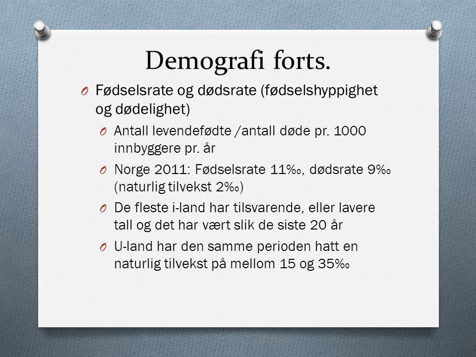Demografi forts. Fødselsrate og dødsrate (fødselshyppighet og dødelighet) Antall levendefødte /antall døde pr. 1000 innbyggere pr. år.