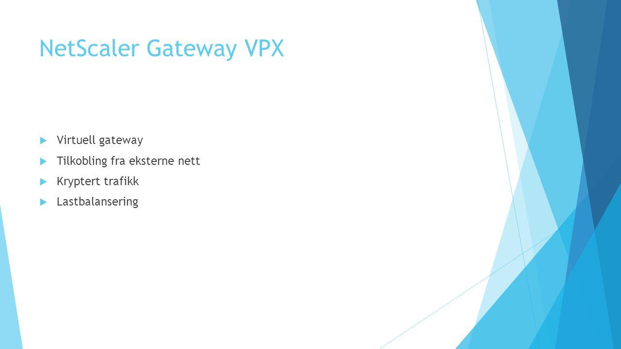 NetScaler Gateway VPX Virtuell gateway Tilkobling fra eksterne nett