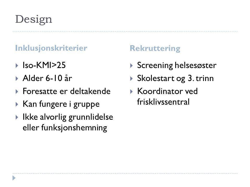 Design Iso-KMI>25 Alder 6-10 år Foresatte er deltakende
