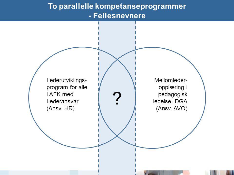 To parallelle kompetanseprogrammer