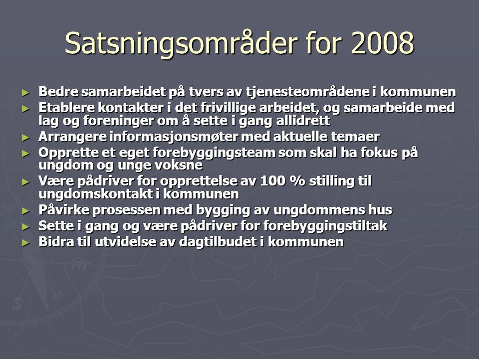 Satsningsområder for 2008 Bedre samarbeidet på tvers av tjenesteområdene i kommunen.