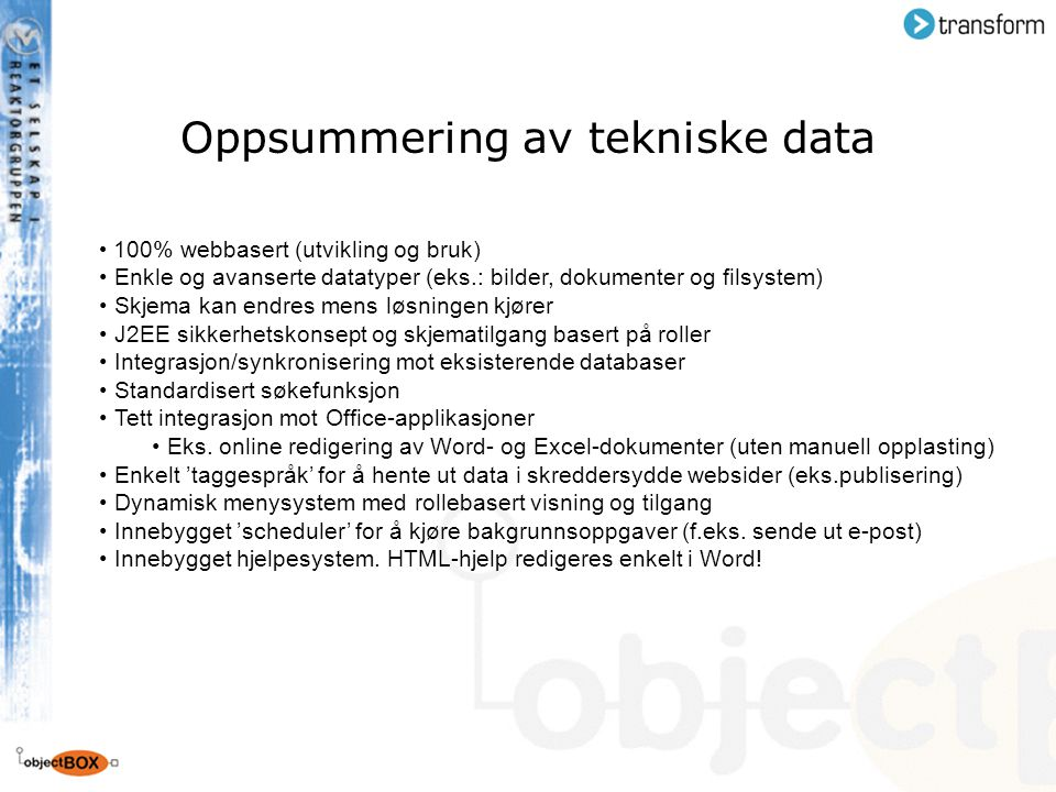 Oppsummering av tekniske data