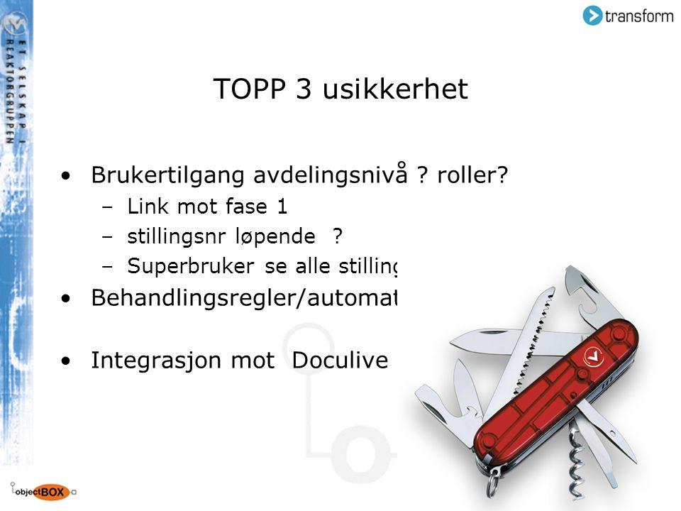 TOPP 3 usikkerhet Brukertilgang avdelingsnivå roller