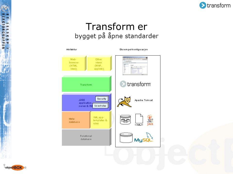 Transform er bygget på åpne standarder