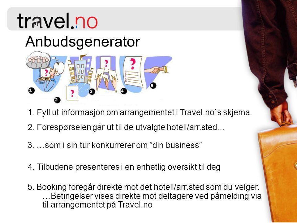 Anbudsgenerator 1. Fyll ut informasjon om arrangementet i Travel.no`s skjema. 2. Forespørselen går ut til de utvalgte hotell/arr.sted…