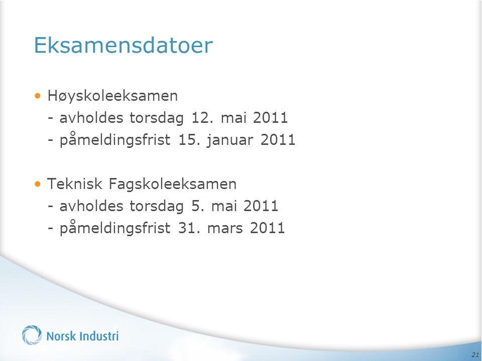 Eksamensdatoer Høyskoleeksamen - avholdes torsdag 12. mai 2011