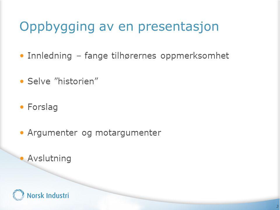 Oppbygging av en presentasjon