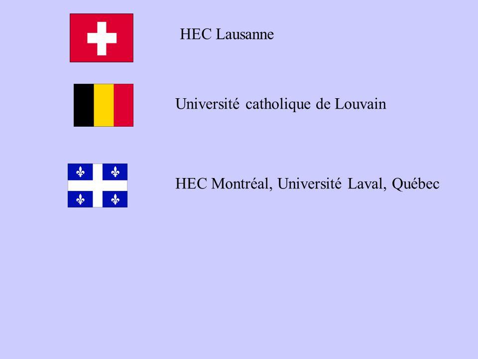 HEC Lausanne Université catholique de Louvain HEC Montréal, Université Laval, Québec