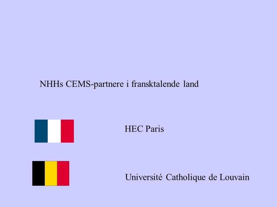 NHHs CEMS-partnere i fransktalende land