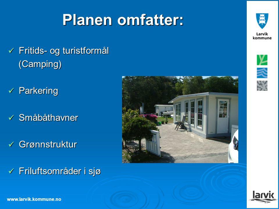 Planen omfatter: Fritids- og turistformål (Camping) Parkering