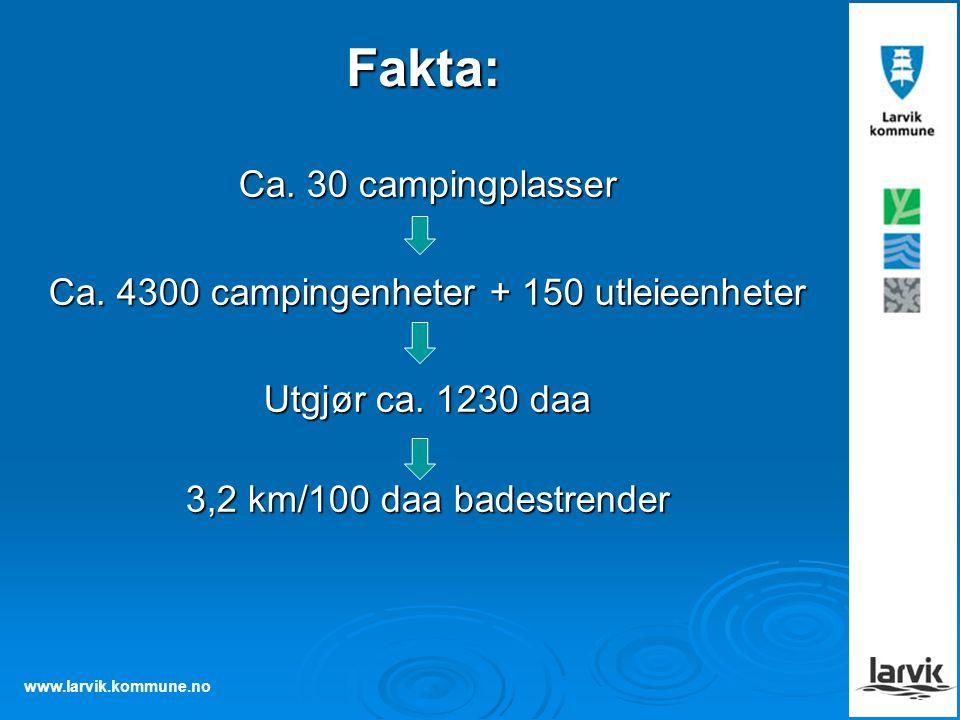 Ca. 4300 campingenheter + 150 utleieenheter