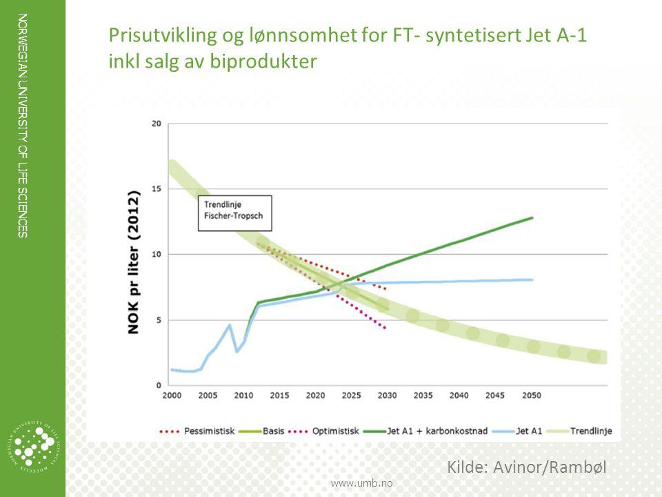 Prisutvikling og lønnsomhet for FT- syntetisert Jet A-1 inkl salg av biprodukter