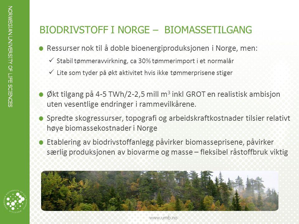 BIODRIVSTOFF I NORGE – BIOMASSETILGANG